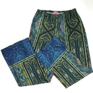 Sunny Leigh Wide Leg Peacock Paisley Print Pants